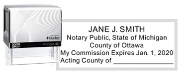 NS-02-MI - Michigan Notary Public Stamp - Acting County of Fill In Line
